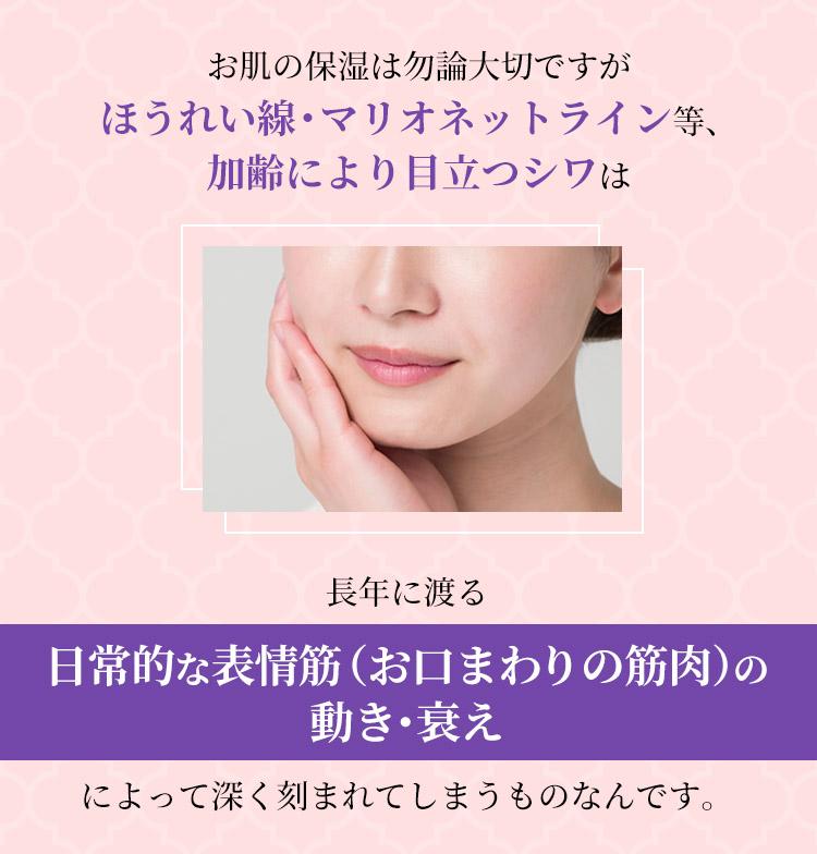 お肌の保湿は勿論大切ですが、ほうれい線・マリオネットライン等、 加齢により目立つシワは長年に渡る日常的な表情筋(お口まわりの筋肉)の動き・衰えによって深く刻まれてしまうものなんです。
